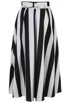 Bowknot Contrast Striped A-Line Midi Skirt