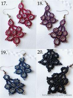 画像5: 3 葡萄 ボンジュックオヤ ピアス Bead Crochet, Crochet Necklace, Tatting Jewelry, Textile Jewelry, Jewelry Patterns, Jewelry Making, Homemade, Beads, Women