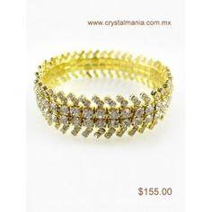 Pulsera ajustable dorada con cristales estilo 55003