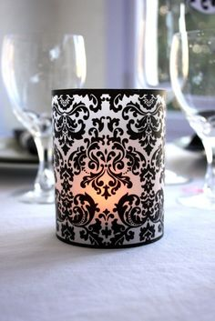 Printable Bold Damask Luminaries by ThePoshEvent for Candle Impressions Flameless Tea Lights & Votives Damask Bedroom, Damask Decor, Master Bedroom, White Bedroom, Glue Tape, Elegant Table, Glass Candle Holders, Candle Jars, Do It Yourself Home