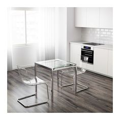 IKEA GLIVARP Extendable table Transparent/chrome-plated 75/115x70 cm The glass table top lets light through, which makes the table feel neat and blend in...