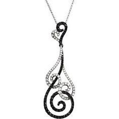 """1 1/3 ct tw Black & White Diamond 18"""" Necklace, $2,174.88 www.diamondshoppejewelers.com"""