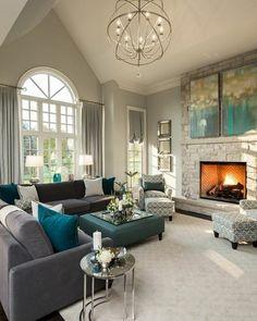 salon majestueux, couleur mur salon grise, décor en gris, vert et bleu, idée…