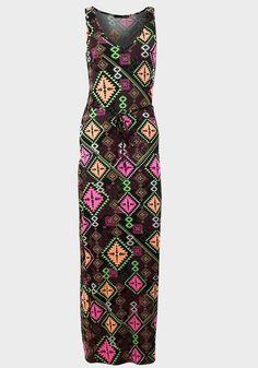 NEW Ladies Primark Atmosphere Neon Aztec Print Maxi Pink Black Dress 6 to 20