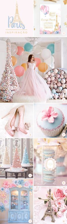 8 ideias para festa de 15 anos em azul e rosa com o tema Paris Diy Party Decorations, Party Themes, Party Ideas, Wedding Trends, Wedding Designs, 15th Birthday, Birthday Parties, Paris Party, Unicorn Party