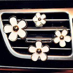 Inebiz Voiture Charm Superbe Daisy Fleurs Décorations de grille d'aération Cute Automotive Intérieur Trim, 4pcs avec différentes tailles:…