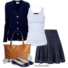 """Navy Blue"" by archimedes16 on Polyvore (*for banana republic skirt this fall/winter) (don't have blue cardi)"