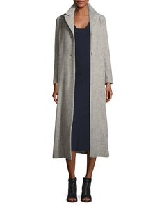 B3PTN Isabel Marant Long Wool-Blend Top Coat, Gray