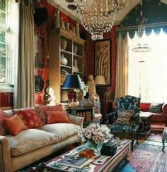 Room of the Day: charming English drawing room - love the 1730 French chair with original fabric, window treatment, chandelier style, pillows, black lampshade and colors.