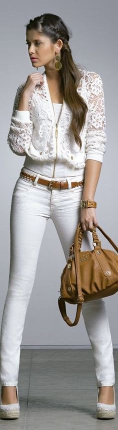 Women's fashion white lace jacket and brown accessories | Just a Pretty Style