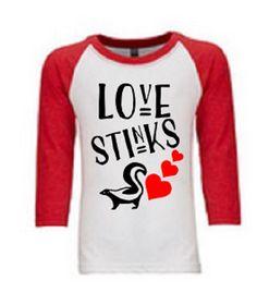 Love Stinks Youth raglan//valentine's day shirt//vday shirt for boys//boys valentines day//love//youth raglan by DomesticDuchessGifts on Etsy
