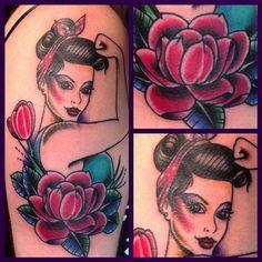 "98 Synes godt om, 9 kommentarer – ⚓️Zebra Tattoo & Piercing (@zebratattoos) på Instagram: ""Check out the beautiful Miss Rosie by Nino @zappyzip #rosietherivetertattoo #rosietattoo…"""