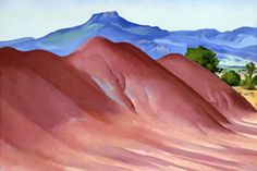 "Pedernal with Red Hills (Red Hills with the Pedernal), by Georgia O'Keeffe, 1936. Oil on linen, 19 3/4 x 29 3/4"" (50.2 x 75.6 cm) 