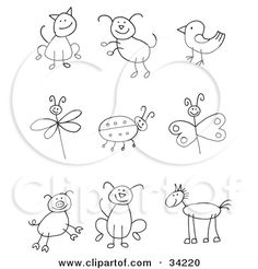 Clipart Illustration of a Stick Figure Cat, Dog, Bird, Dragonfly, Ladybug, Butterfly, Pig, Pupy And Horse by C Charley-Franzwa