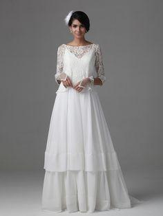 $289.98 A Line Princess Scoop Sweep Train Chiffon dress with Lace -Wedding Dresses-DeniseDress