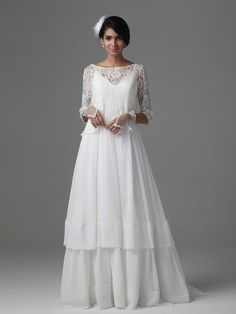 $289.98 A Line Princess Scoop Sweep Train Chiffon dress with Lace -Wedding Dresses-DeniseDress