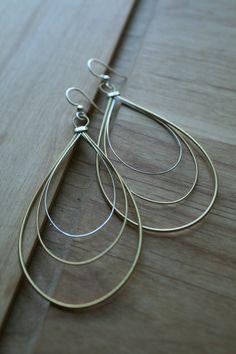 Triple loop Guitar String Earrings. Elegant by BluceDesigns