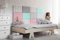 made for bed: modułowe zagłówki made for bed: modułowe zagłówki - PLN Design Trendy Bedroom, Girls Bedroom, Bedroom Decor, Upholstered Wall Panels, Kids Room Design, Little Girl Rooms, Boy Rooms, Kids Rooms, Dream Rooms