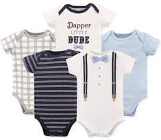 Dress your little one with a stylish look with the adorable Short Sleeve Bodysuits from Little Treasure. Made from super soft cotton in 5 different styles, these bodysuits have a comfy, stretchable neck and a snap closure bottom for easy changes. Baby Vision, Plus Size Activewear, Unisex Baby, Navy Stripes, Boy Shorts, Kung Fu, Trendy Plus Size, Cute Designs, Dapper