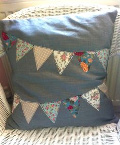 Applique Bunting Cushion by LizziePinniger on Etsy, £23.99