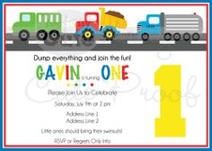 Trucks Invitations set of 12 by ToadallyCuteParties on Etsy, $21.00