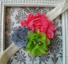 Pink, gray, lime green with rhinestone pearl shabby chic flower elastic headband Baby, girl, teen headband.