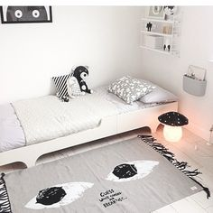 Look at this cool room! #regram @artmarble I wanted this rug for our studio. It is looking so good with our A teen bed #rafakids#teenbed#black#white#customerphoto#thankfull#moderndesignforkids#childrenroom#homedeco#kidsdeco