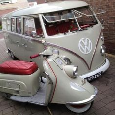 Scooter and VW van love! Great shot of VW Campervan and Scooter in matching paint! #VWCampervan