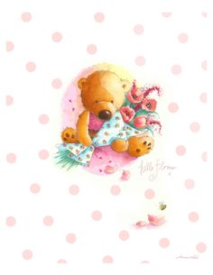 """Hello Flower. Cute Scruffy Old Teddy Bear with Bouquet of Flowers. 8x10""""  Art Print for Baby Girl's Nursery or Little Girl's Bedroom on Etsy, $15.00"""