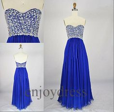 Custom Crystals Royal Blue Long Chiffon Bridesmaid Dress Prom Dress Party Gown Wedding Party Dress Homecoming Dress Quinceanera Dress on Etsy, $118.00