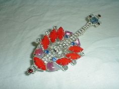 vintage mandolin brooch czech stones by qualityvintagejewels