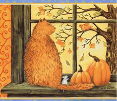 Diamond Painting Cat and Mouse on the Windowsill in Autumn Paint with Diamonds Art Crystal Craft Decor Halloween Painting, Halloween Cat, Autumn Painting, Autumn Art, Autumn Scenes, New Hampshire, Cat Art, Decoration, Folk Art