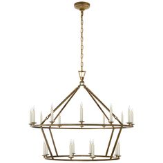 Darlana Large Two-Tiered Ring Chandelier in Aged Iron