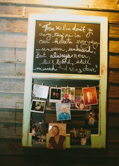 """"""" Sweet way to honor those who have passed away. Do for the wedding on a wood board maybe Garden Wedding, Fall Wedding, Diy Wedding, Dream Wedding, Wedding Ideas, Funeral Planning, Wedding Planning, Funeral Reception, Chalkboard Pictures"""