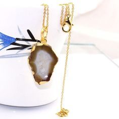 H2106 Halloween Sale Brown Geode Druzy Gold Plated Pendant Necklace With Chain #Handmade #Pendant