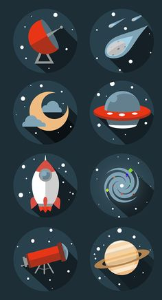 Flat space icons on Behance