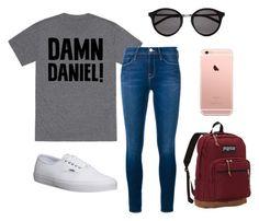 """Damn Daniel | Meme Outfit"" by amberlookshuman on Polyvore featuring Frame Denim, Vans, JanSport, Yves Saint Laurent, women's clothing, women, female, woman, misses and juniors"