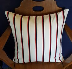 This pillow cover will add a touch of class to any room with it's clean and sharp lines. Red Pillows, Throw Pillows, Blue Denim, Pillow Covers, Nautical, Etsy Seller, Unique Jewelry, Handmade Gifts, Touch