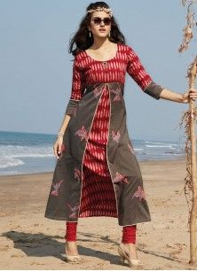 Phenomenal Rayon Red Print Work Party Wear Kurti