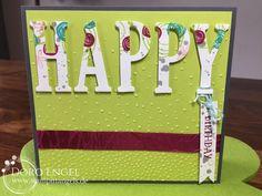 Stampin' Up! Card, Berry Burst, Bermuda, Lemon Lime Twist, Smokey Slate, Large Letter Framelits, Happy Birthday, Softly Falling, Swirly Bird