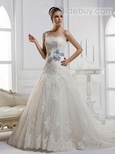 Fantastic A-line One-shoulder Flowered Floor-length Chapel Train Wedding Dress.