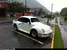The Poorsche It looks to be a combination of a Volkswagen in the middle, a Porsche in the front, and a Mitsubishi in the back. Ladies and gentlemen: the Vorschmitwagen. Ricer Car, Car Quiz, Diesel, Flying Vehicles, Super Funny Memes, Funny Jokes, Car Mods, Love Car, Modified Cars
