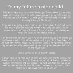 Foster Care news and Updates: To my foster children