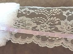 Vintage White Wide Lace with Lilac Ribbon 4 inches   1 yard