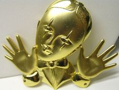 Vintage Mime Magician Brass Brooch Pin Signed JJ Jonette Jewelry RARE | eBay