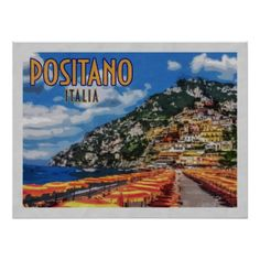 Positano Italy Amalfi Vintage Travel Poster - travel photos wanderlust traveling pictures photo
