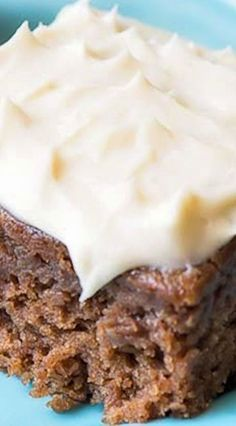 Applesauce Bars with Cream Cheese Frosting ~ These bars are the best and moistest bars you'll ever make, topped with a delectable Cream Cheese Frosting that will make them a favorite in your home.
