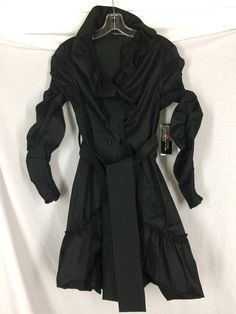 Samuel Dong Black Bubble Trench Coat Small Stretch Water Resistant NWTs $325 #SamuelDong #Trench