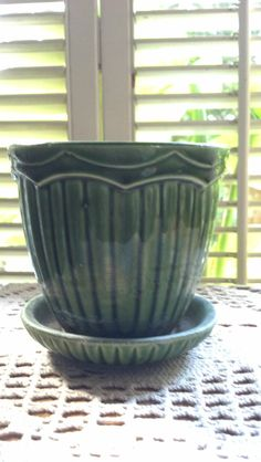 Vintage McCoy  USA Green Pottery Pot Vase With by PattiesPassion, $49.99