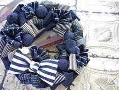 Christmas Pom Pom, Christmas Diy, Christmas Wreaths, Christmas Decorations, Holiday Decor, Denim Ideas, Love Blue, 4th Of July Wreath, Burlap Wreath